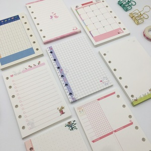 Cute Cartoon A7 Loose Leaf Notebook Notepad Refill, Colored Spiral Refill Pages DIY Diary Cover PP Binder Agenda Shell