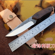 2016The sharp knife pure manual forging tool high hardness straight knife mountaineering camping knife outdoor hunting knife