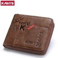 KAVIS Men Leather Wallets Card Holder Zipper Designer Male Purse Wallet High Quality Business Wallet Men