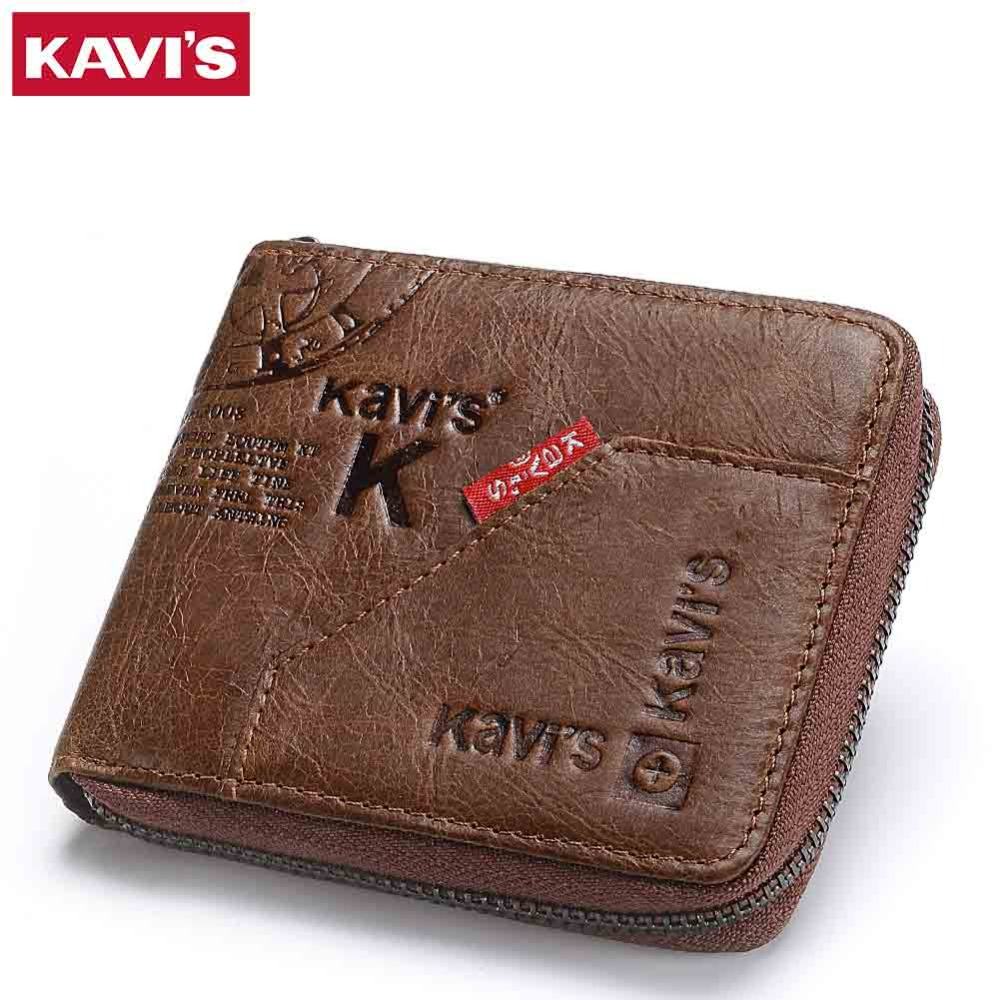 KAVIS 100% Genuine Leather Wallet Men Coin Purse Male Cuzdan Small Walet Portomonee Rfid Mini PORTFOLIO Vallet Perse Card Holder kavis new genuine leather men wallets vintage coin purse luxury brand bifold portfolio rfid fashion magic vallet male cuzdan