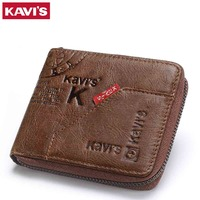 KAVIS Men Leather Wallets Card Holder Zipper Designer Male Purse Wallet High Quality Business Wallet Men