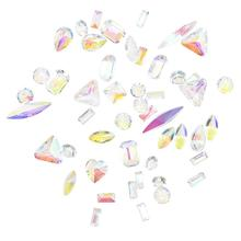 100PCS/Bag AB Transparent Pointed Resin Crystal Gems / Mix 3D Nail Decoration Rhinestones 4mm-8mm Multi-size Chrome Beads DIY