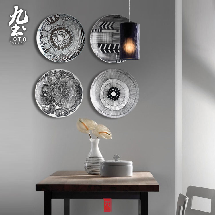 modern mural wall hanging decorative plate simple geometric lines blue and whiteblack garden style - Decorative Wall Plates