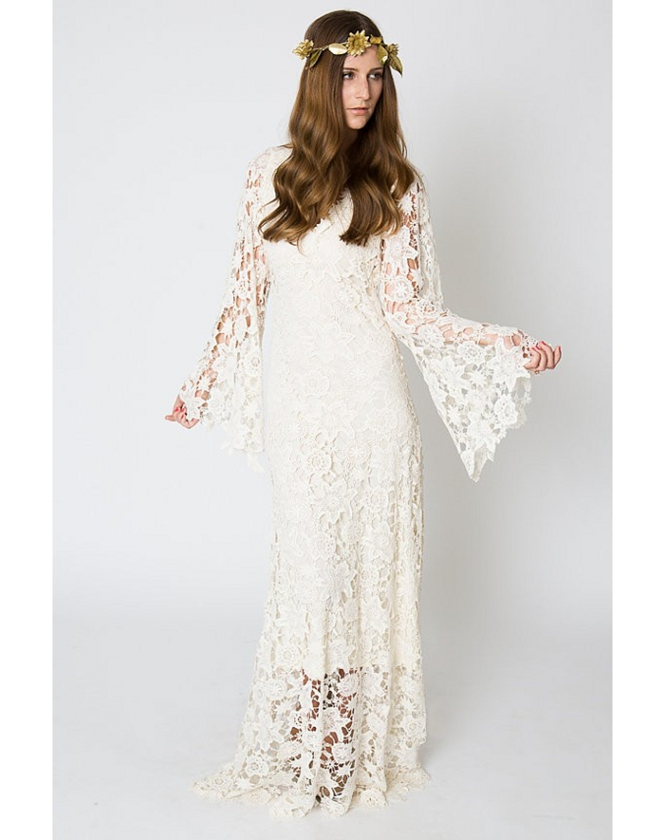 Vintage Ivory Lace Bohemian Wedding Dresses 2017 V Neck
