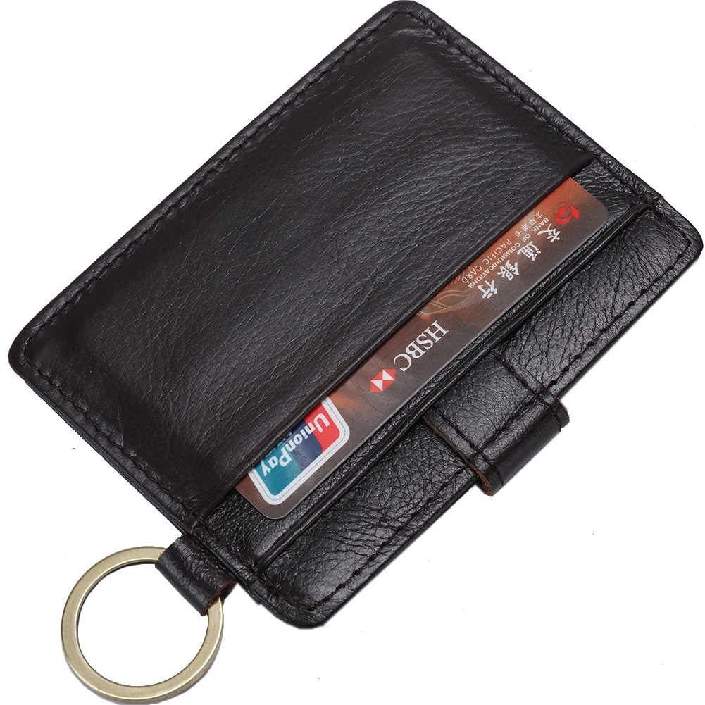 Baborry Kaffee RFID Diebstahl Schützen Karte Halter Echtes Leder Mann Mini Kreditkarte Geldbörse Männer Brieftasche Dünne Kleine