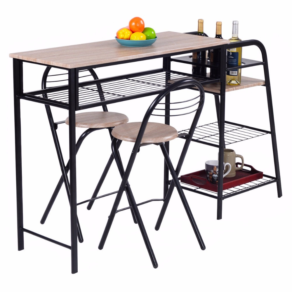 Giantex 3 Pc Pub Dining Set Table Chairs Counter Height Home