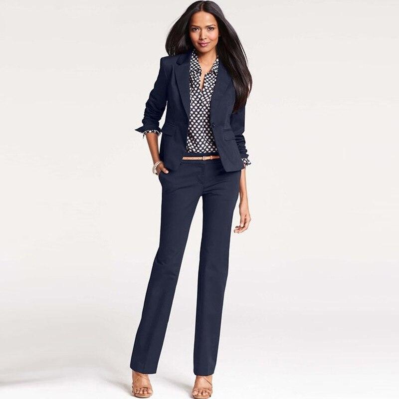 CUSTOM navy 2 piece set women business suits formal office suits work one button slim fit female trouser elegant pant suits