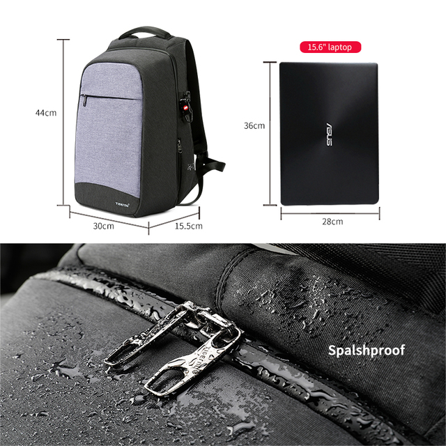 Tigernu Laptop Backpack Business Bags USB Charging Male Mochila Anti Theft Water Resistant School Bookbag for College Travel 4