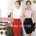 D412 envío gratis 2014 mujeres de nueva moda de cintura alta Color sólido OL delgado falda lápiz negro / blanco / amarillo / naranja S-XL
