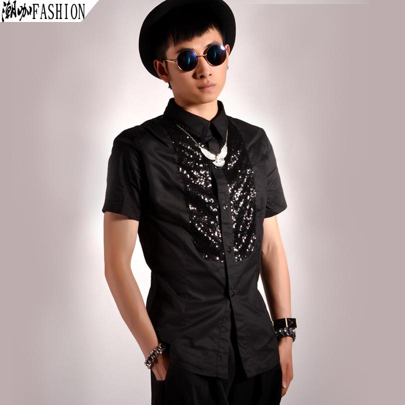 5dd6ae92e6 Nowe Hot brand casual mody błyskotka patchwork krótkim rękawem koszula moda męska  odzież piosenkarka kostium klub nocny koszule