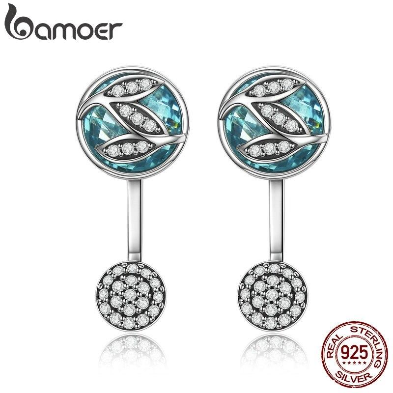 BAMOER 100% 925 Sterling Silver Green Glass ,Dazzling CZ Tree Of Life Drop Earrings For Women Brincos Fine Jewelry Bijoux SCE087