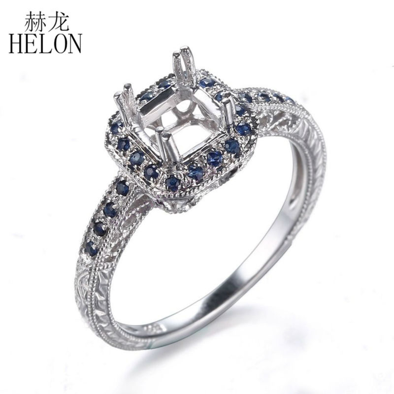 HELON HOT SELL ! Vintage Style Natural Sterling Silver 925 Round Cut 6mm Semi Mount Antique Engraving Womens Wedding Ring
