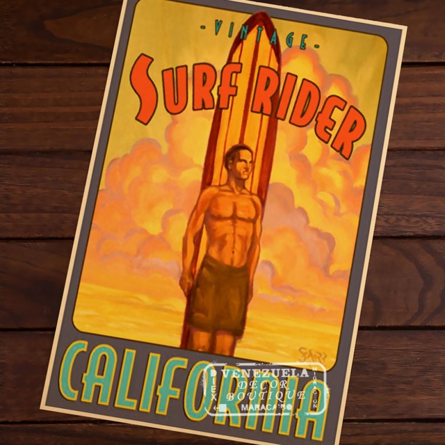 Southern California beach surf Sports Travel Vintage Retro Poster Decorative Wall Stickers Posters Bar Home Decor Gift