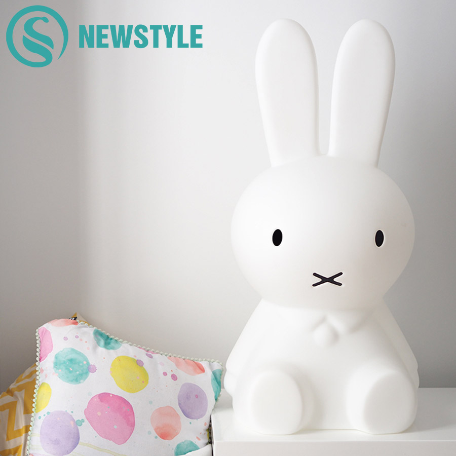 50cm Miffy Rabbit LED Night Lamp Dimmable Cartoon Baby Bedroom LED Night Light for Children Kids Baby Christmas Gift wake up led night light alarm clock with sunrise simulation fm radio table lamp for kids children baby bedroom nightlight gift