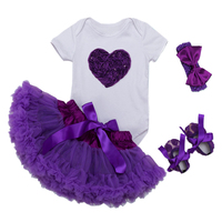 Baby Sets For Girls 2018 Tutu Girls 1st First Birthday Party Infant Sets Baby Girl LOVE Clothes Romper Purple Tutu Skirt Suits