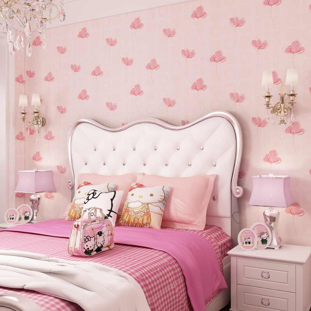 Kids Room Wallpapers Girls Bedroom Nonwovens Warm Korean Style Pastels Pink 3d wall murals Princess Phalaenopsis.jpg q50