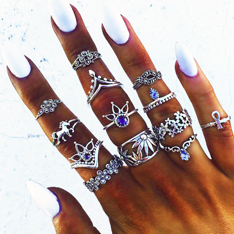 13pcs/Set Boho Vintage Punk Antique Flower Carved Midi Finger Rings For Women Bohemian Knuckle Ring Set Jewelry Anillos