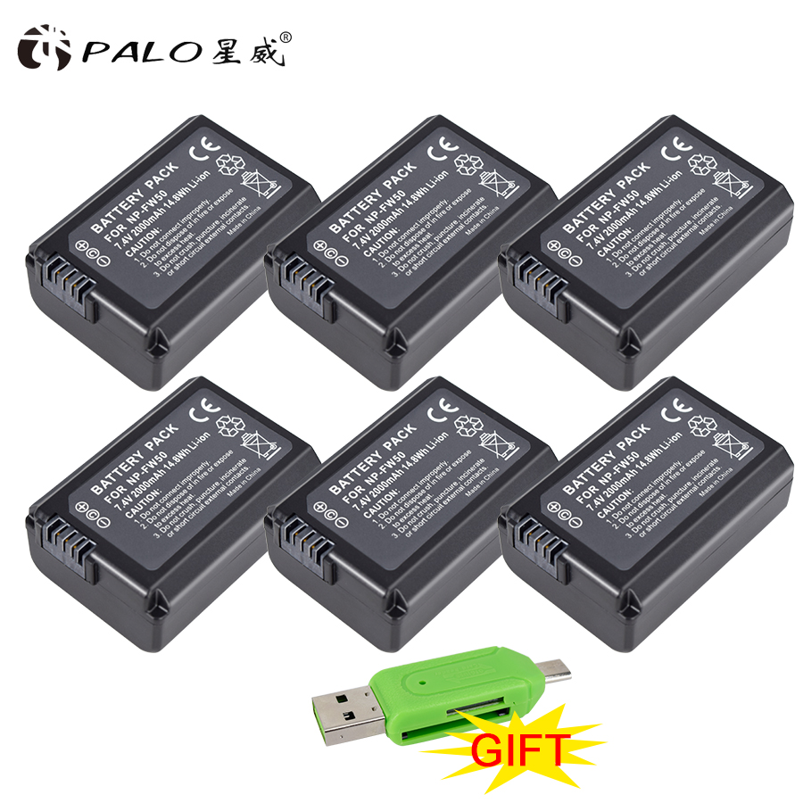 PALO 6 unids NP-FW50 de batería de la Cámara NPFW50 NP FW50 para SONY A5000 A5100 A7R NEX5 5R 5N A6000 A7 NEX6 NEX7 NEX5R NEX5N