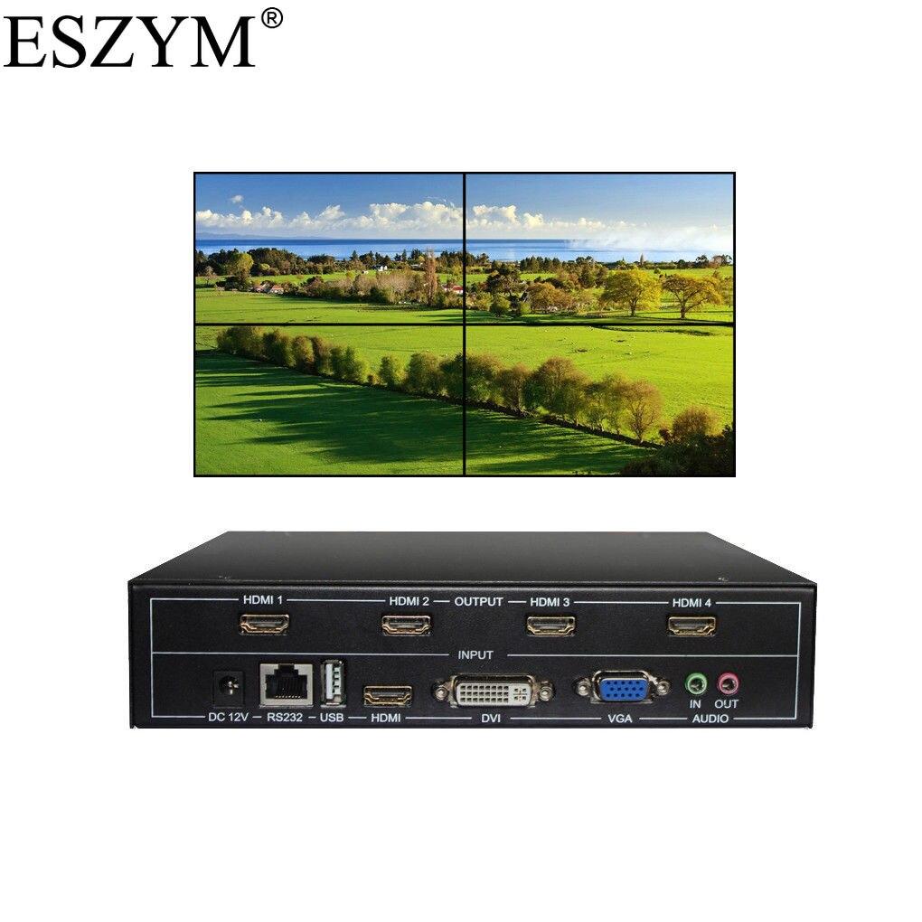 ESZYM 4 canales de TV pared de vídeo controlador 2x2 1 3x3x1x2 HDMI DVI VGA USB procesador de vídeo