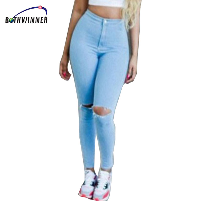 Hot Sale Vintage Hole Ripped   Jeans   Woman Plus Size Elasticity High Waist Skinny   Jeans   Women Pencil Denim Pants   Jeans   Femme Mujer