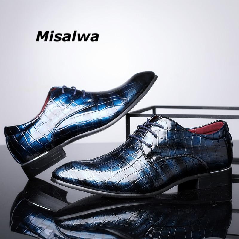 9e46fbc74b1 Misalwa recién Formal vestido hombres Zapatos 2019 otoño cuero rojo Social  niños Oxford Zapatos de boda talla grande Zapatos gota nave