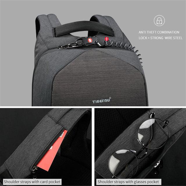Tigernu Men Fashion 15.6 inch Anti theft Waterproof Business Laptop Backpacks Casual Male School Backpacks GrilsSchoolbag 2