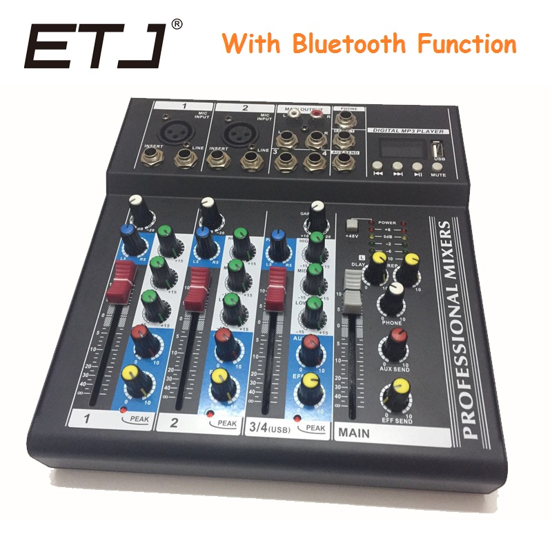 ETJ Brand 4 Channels With Bluetooth Function Audio Mixer With USB Input Sound Console DJ Equipment 48V Phantom Power Supply audio mixer cms1600 3 cms compact mixing system professional live mixer with concert sound performance digital 24 48 bit effects