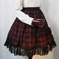 Nueva Llegada Dolly Delly Harajuku Gasa Una línea de Falda A Cuadros Negro y Rojo para Niña