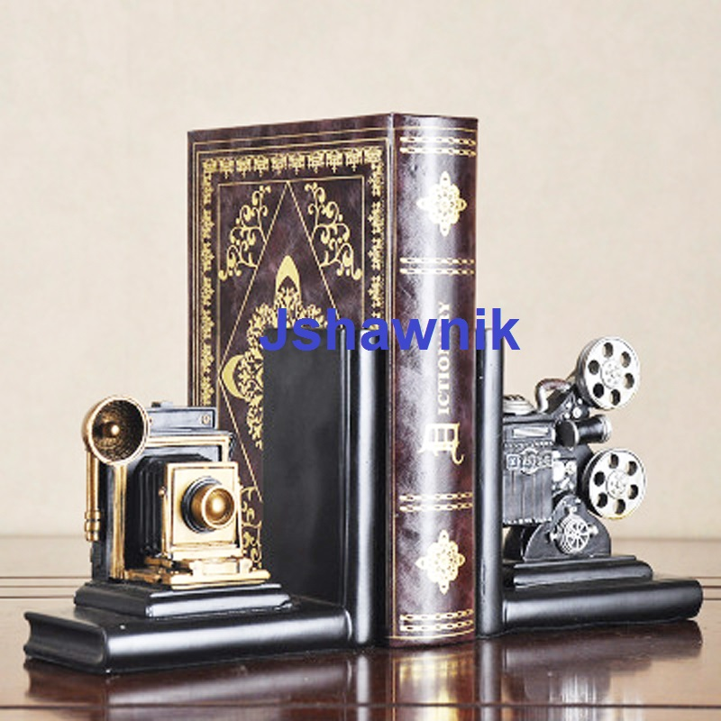 A Pair Movie Machine Bookend Shelf Bookend Holder Office Supplies Home Decoration Book Stand a pair creative synthetic resin bookend shelf retro butterfly bookend holder office supplies home decoration book stand