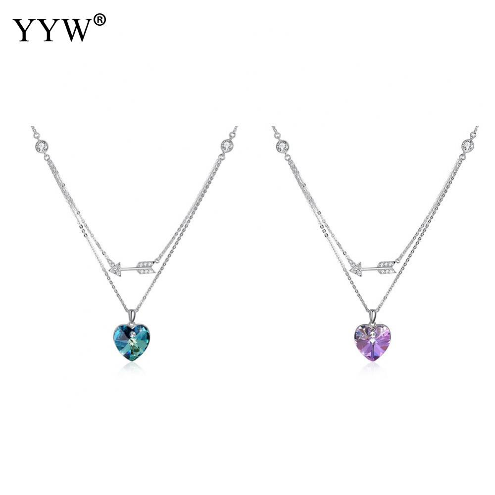 YYW 2018 New Crystals from Swarovski Element 925 Sterling Silver Heart Arrow Pendant Necklace Wedding Fine Jewelry for Women