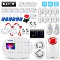 KERUI Беспроводной домой умный дом WI FI GSM охранной сигнализации Системы с Somke детектор мини извещатель двери Сенсор охранной сигнализации