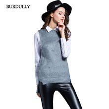 New Autumn Warm Winter 2016 Women's Sweaters Wool And Pullovers Plus Size Sleeveless Vest Japanese Women Clothes Sweater Black