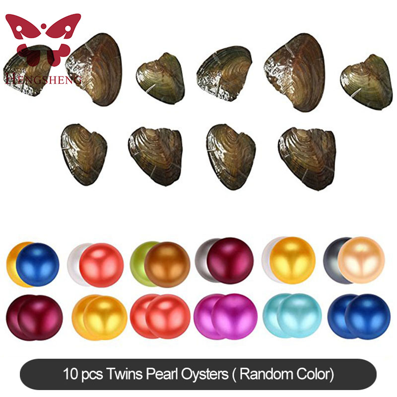все цены на HENGSHENG 10 Pieces Twins Freshwater Pearl Oysters with Twins 6-8 mm Nearly Round Dyed Pearls Inside Random Color онлайн