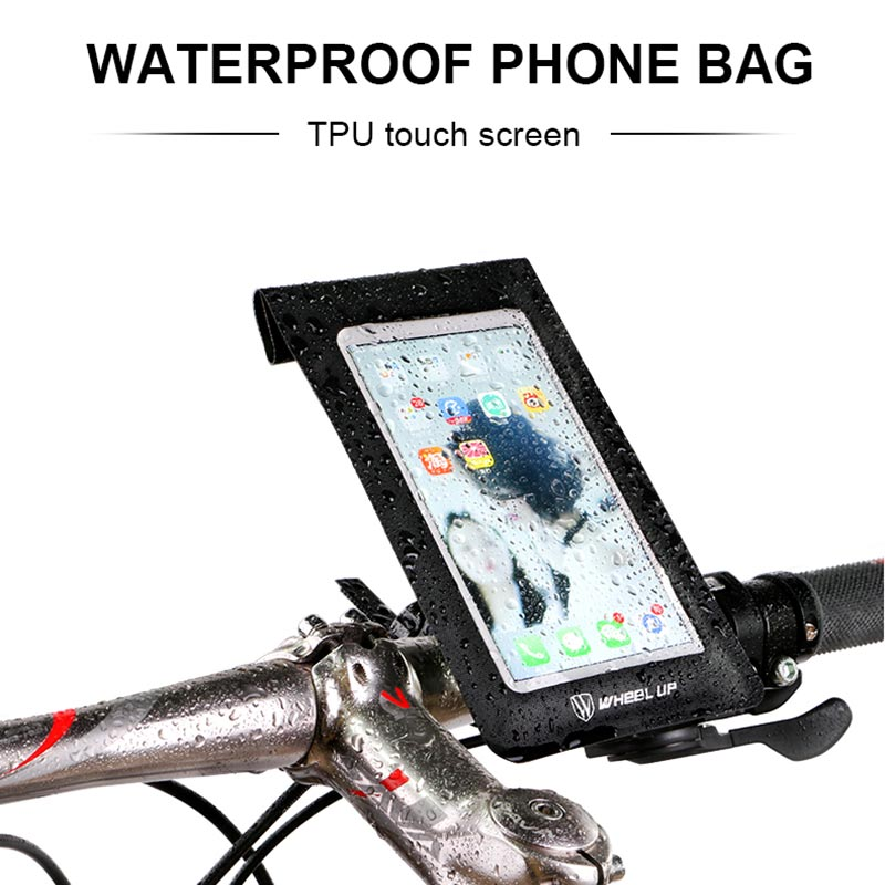wheel up Waterproof Bicycle Bag 360 Rotating Bicycle Handlebar Bag TPU Touch Screen Phon ...