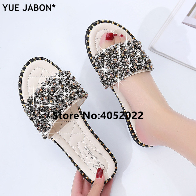 48f4cb2ece1 Silver Rhinestone Slippers Women Slides Summer Beach Slippers 2018 Flip  flops Rivet Casual Flats Ladies Shoes Sandals Shiny-in Slippers from Shoes  on ...