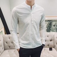 Hot Sale 2018 Spring Men Shirt Solid Casual Pullover White Shirts For Men Long Sleeve Stand