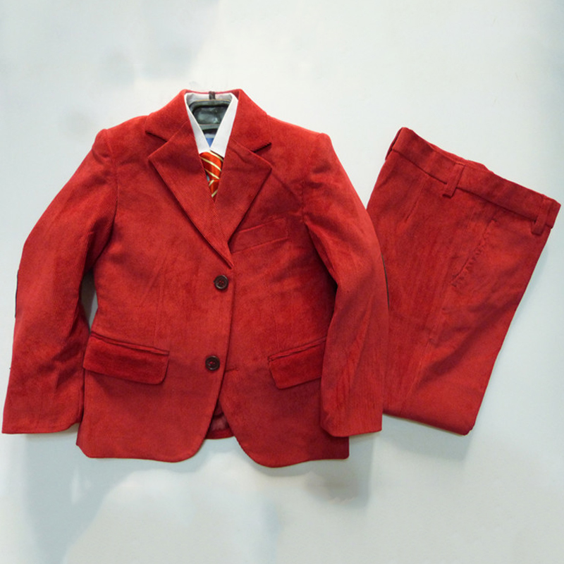Boys Red Corduroy suit Kids Clothes Boys Tuxedo suit for Weddings Formal suit 2-10 Years Children Ceremony Terno 2 tuxedo