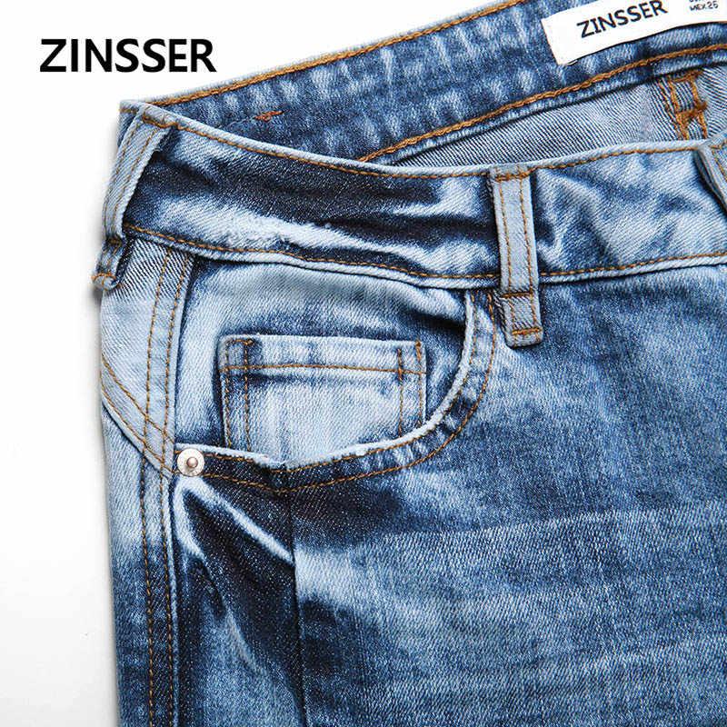 Jesienno-zimowa damska Denim spodnie obcisłe Stretch zniszczone niskiej talii kwas śnieg niebieski Slim elastyczne zgrywanie dżinsy damskie