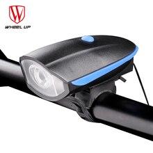 RUEDA PARA ARRIBA de Carga USB 240 lumen IPX4 Bicicleta Bocina Eléctrica Cuerno de Luz Cabeza de la Bici-Bicicleta luz de Advertencia Conducción Nocturna accesorio 2017