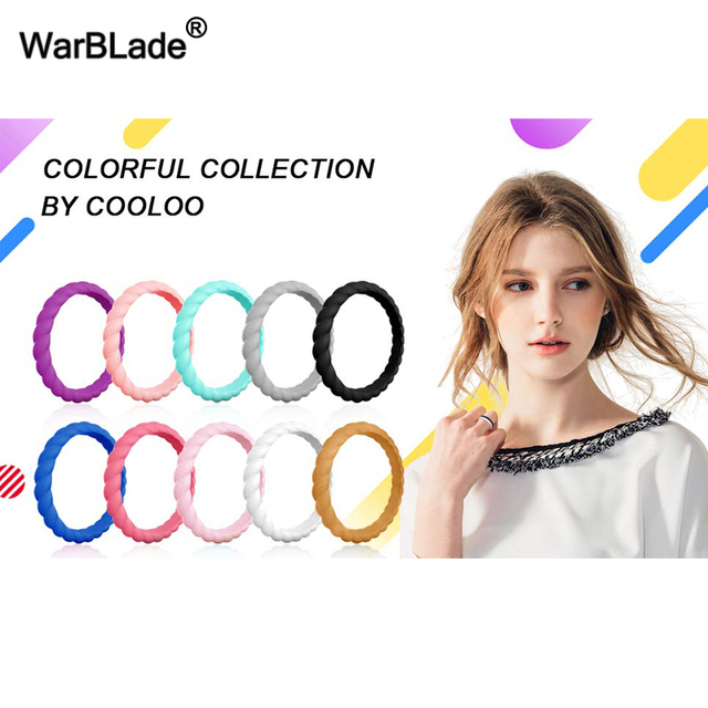 21Color Thin Braided Silicone Ring For Women Wedding Rings Rubber Bands Hypoallergenic Crossfit Flexible Silicone Finger Ring