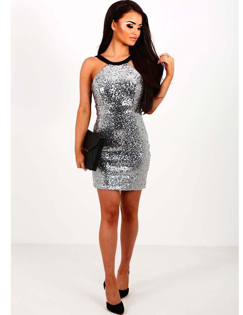Ladies Sleeveless Silver Gold Stud Pattern Evening Women/'s Bodycon Short Dress