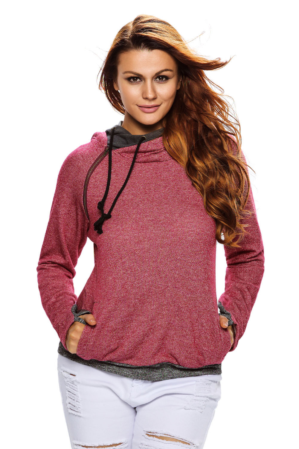 Autumn Sweatshirt new arrival double layer hooded set long-sleeve pullover Fleece Warm Moleton Feminino Coat Camisolas 2593