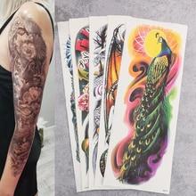 5pcs Large Arm Sleeve Tattoo Paper Waterproof Temporary Sticker Skull Dragon Peacock Flower Tatoo Body Art for Men Women