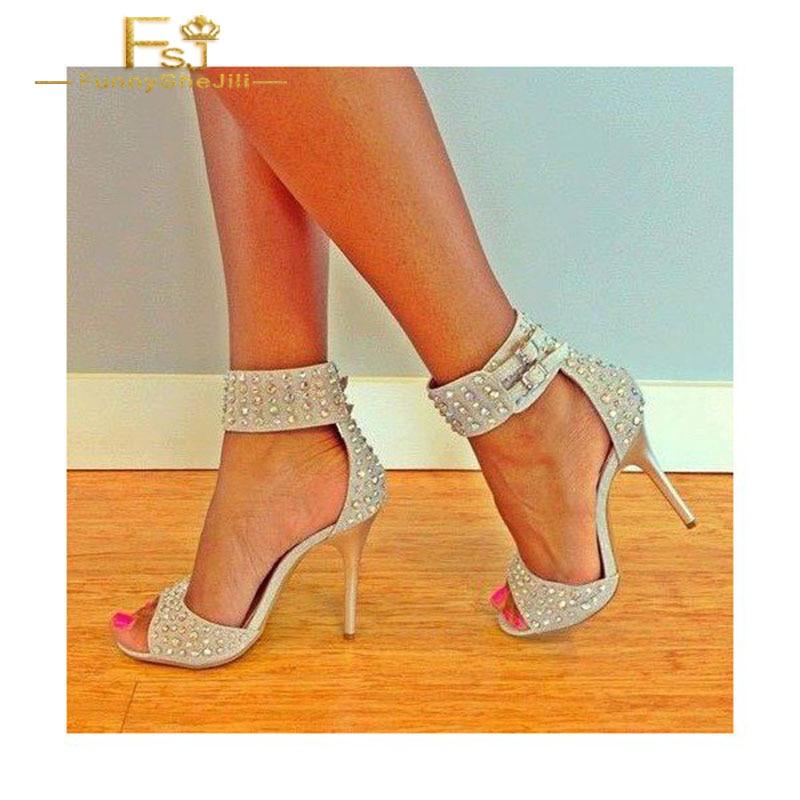 Plus Stiletto Fsj01 Automne Bride La Chaussures Talons Printemps Shoes11 Dames Femmes Ouvert Bout Beige À Pompe Cheville 2108 12 Taille Clouté 13 fa1InZP