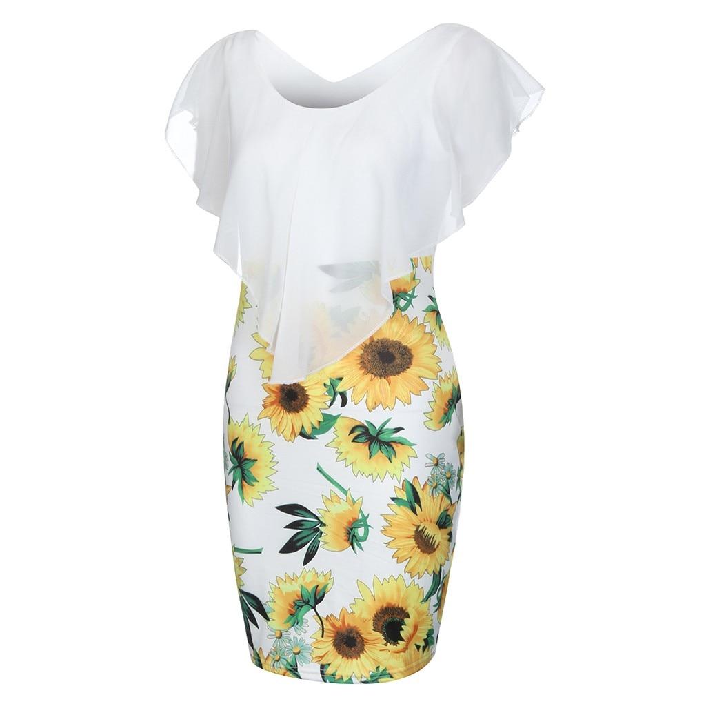 HTB1Yp0JV4naK1RjSZFtq6zC2VXaL Sexy Womens Sunflower Summer Bodycon Dress Sleeveless Printed Holiday Party Short Mini Dresses Ruffle Summer Dress 2019 Vestido
