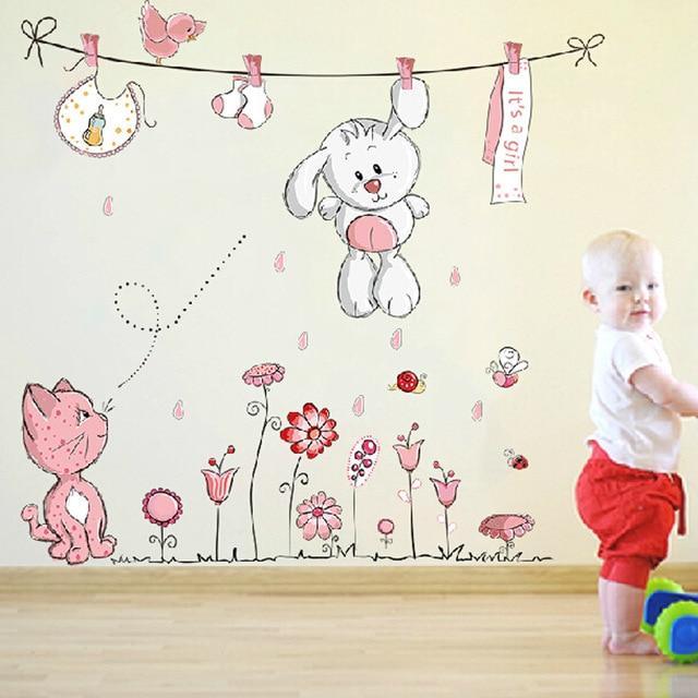 Pink cartoon cat rabbit flower wall sticker for baby girls for Stickers habitacion bebe