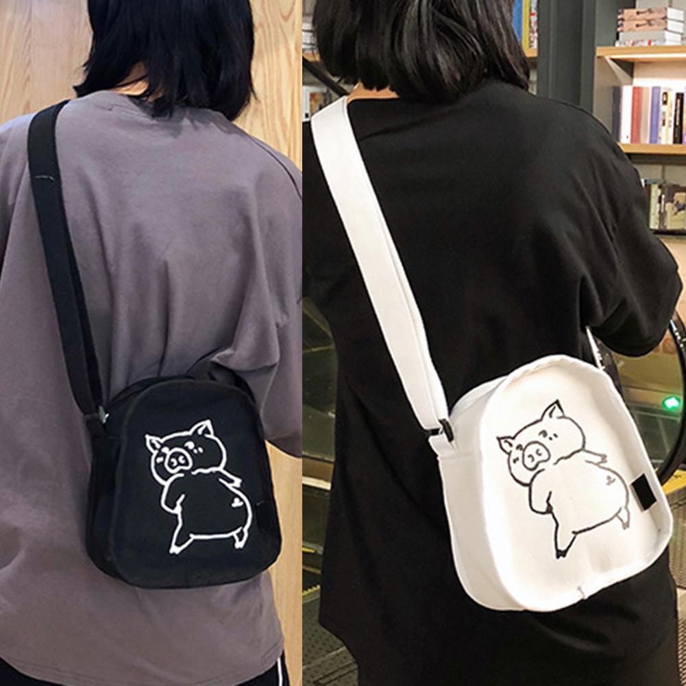 Women Summer Cartoon Cute Pig Print Canvas Crossbody Pouch Single Shoulder Bag Women Summer Cartoon Cute Pig Print Canvas Crossbody Pouch Single Shoulder Bag
