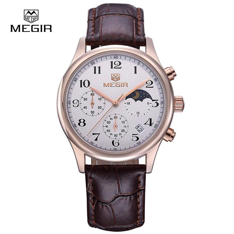 Megir fashion leather quartz watch man luxury waterproof chronograph sport wristwatch men relogios masculinos 5007 free