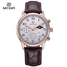 Megir reloj de cuarzo de cuero hombre de lujo impermeable del cronógrafo de pulsera del deporte hombres relogios masculinos 5007 envío gratis