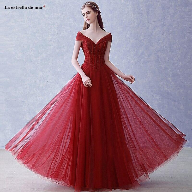 Robe demoiselle d'honneur new tulle beaded sexy V neck cap sleeve A Line burgundy   bridesmaid     dresses   Floor-Length wedding party